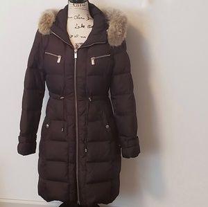 Michael Michael Kors plum puffer coat w/faux fur